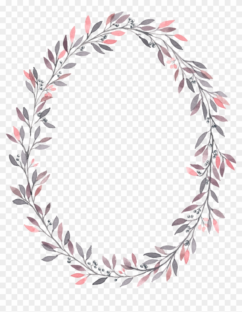 Wedding Invitation Wreath Watercolor Painting Flower - Pink Wreath Leaves Png #1285507