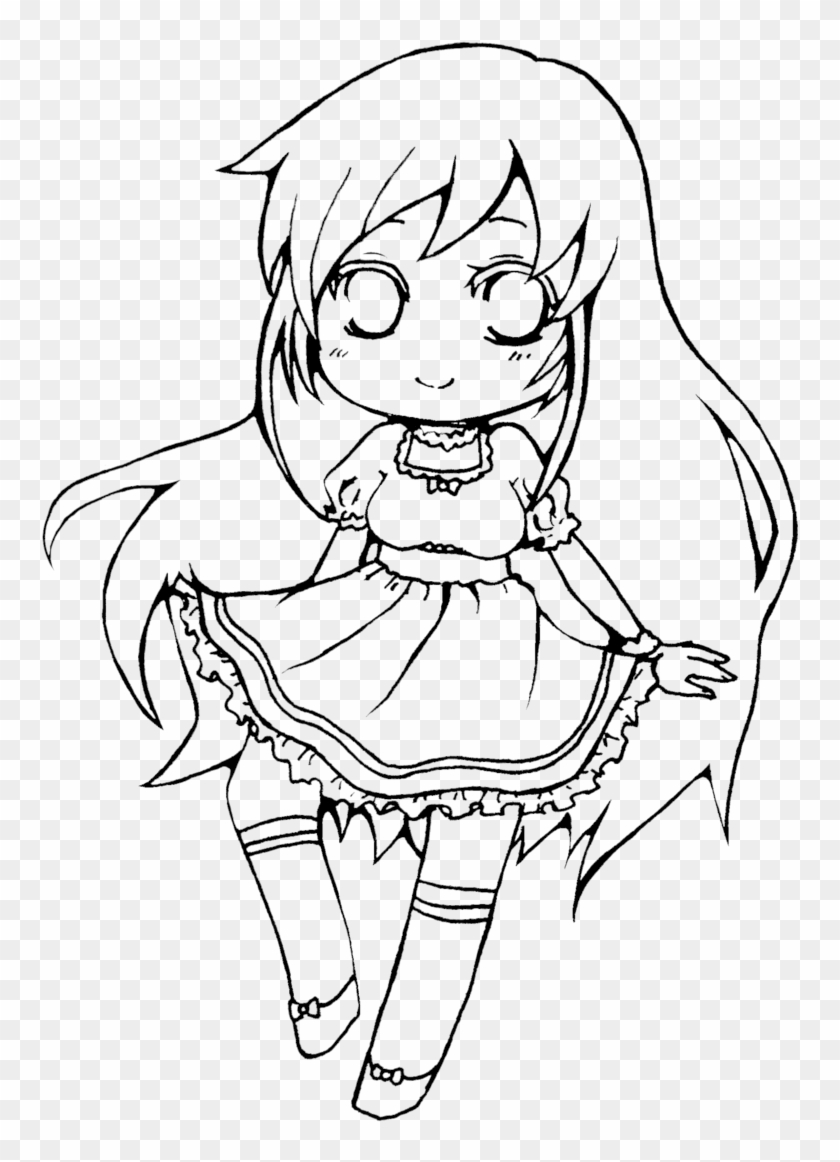 Long haired girl line art lineart for coloring by vocaloid anime girl lineart chibi