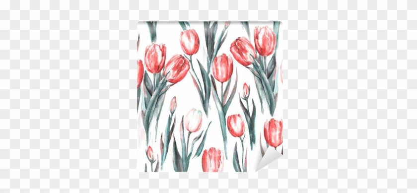 Hand-drawn Watercolor Seamless Pattern With Red And - Watercolor Painting #1286848