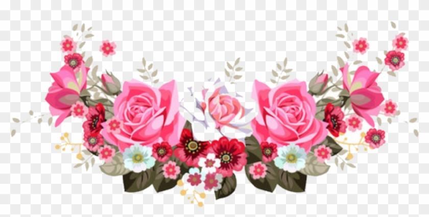 Floral Header - Bright Pink Flower Corner Border Png #1287843