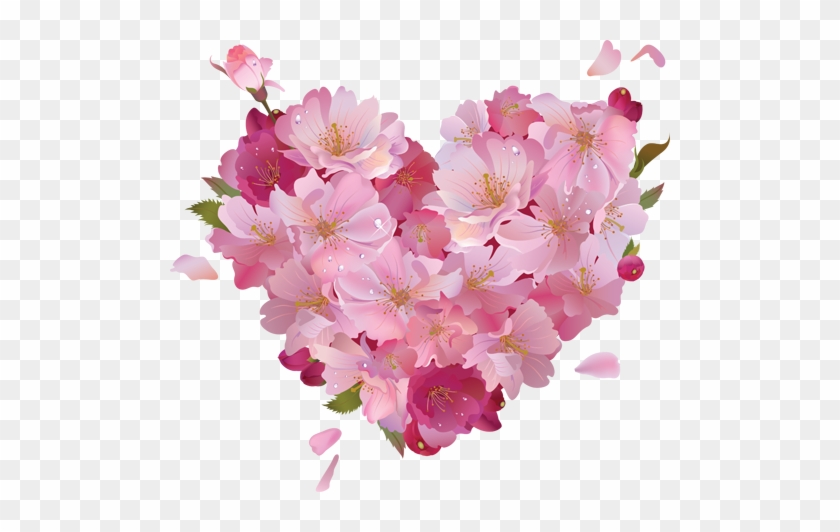Pink Flower Heart Clipart Pink Hearts And Flowers Free