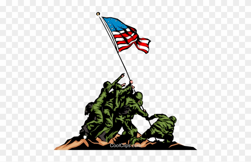 Raising The Flag Royalty Free Vector Clip Art Illustration - Soldiers Putting Up American Flag #1289383