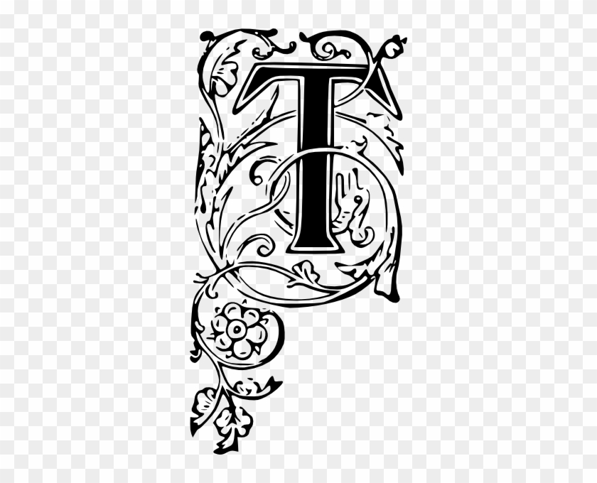 Ornate Letter T Clip Art At Clker Fancy First Letter Font Free