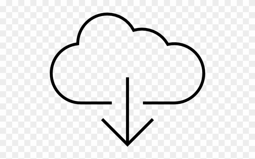 Arrow Down Inside A Cloud Outline - Arrow - Free Transparent