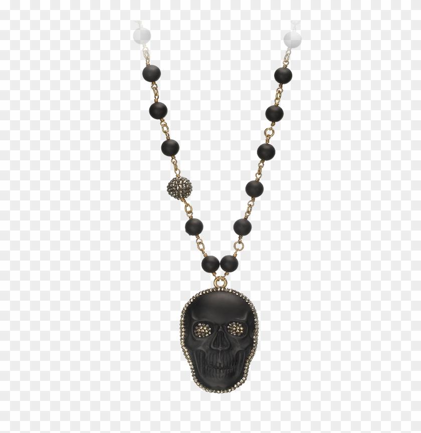 Swarovski Crystal Accented Large Obsidian Skull Pendant