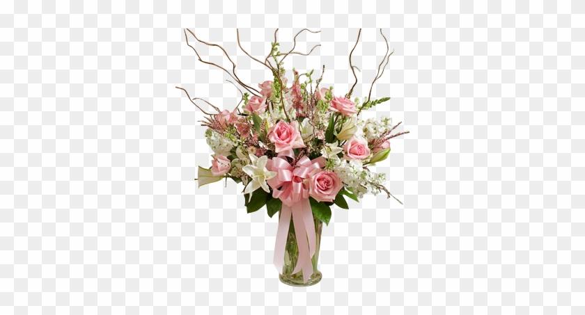 Beautiful Pink White Vase Arrangement In Houston Big Flower Arrangements In Vase Free Transparent Png Clipart Images Download