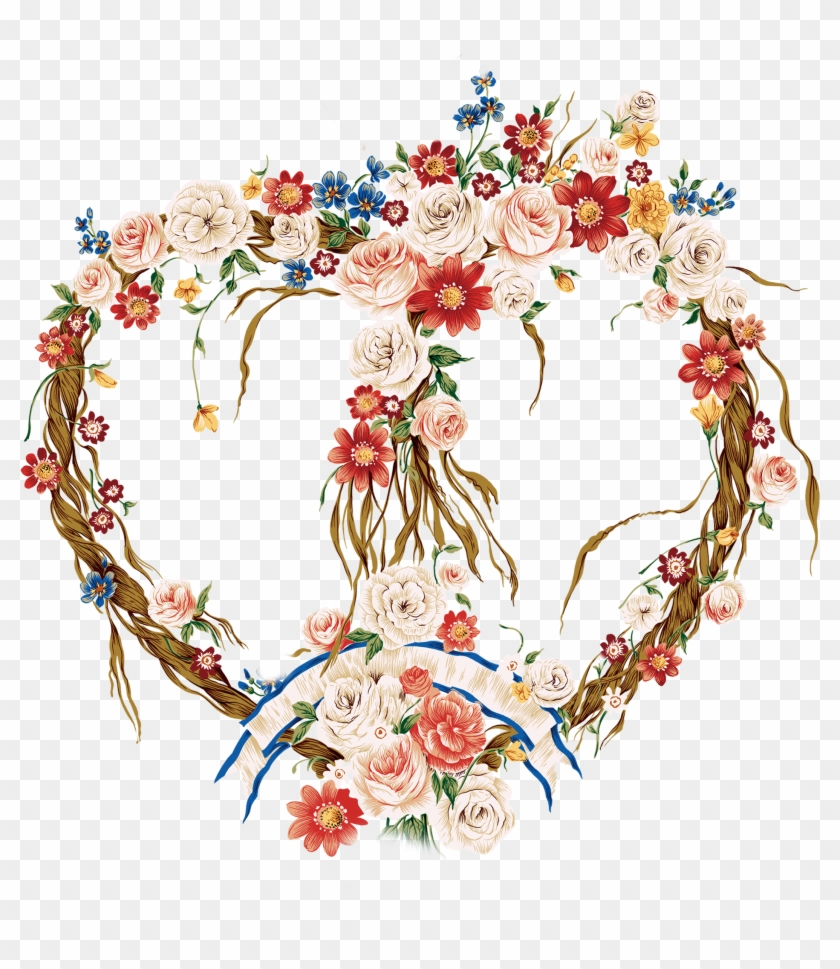 Valentine's Day Border Flowers Heart Floral Design - Floral Valentine Heart Mug #1296792