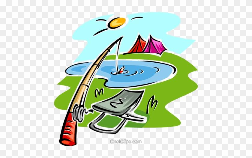 Fishing Rod And Seat, Tents Royalty Free Vector Clip - Camping And Fishing Cartoon #1297345