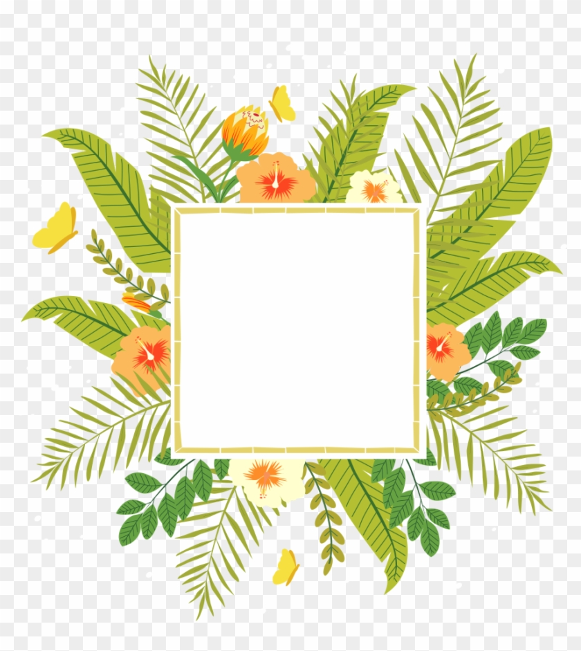 Tropics Flower Clip Art - Tropical Flower Frame Png #1297468