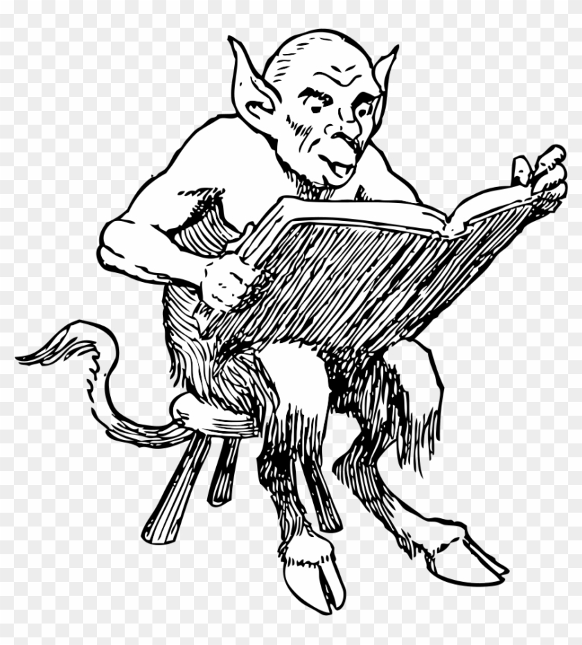 Lucifer Devil Satan Psychic Reading Clip Art - Devil Reading A Book #1299060
