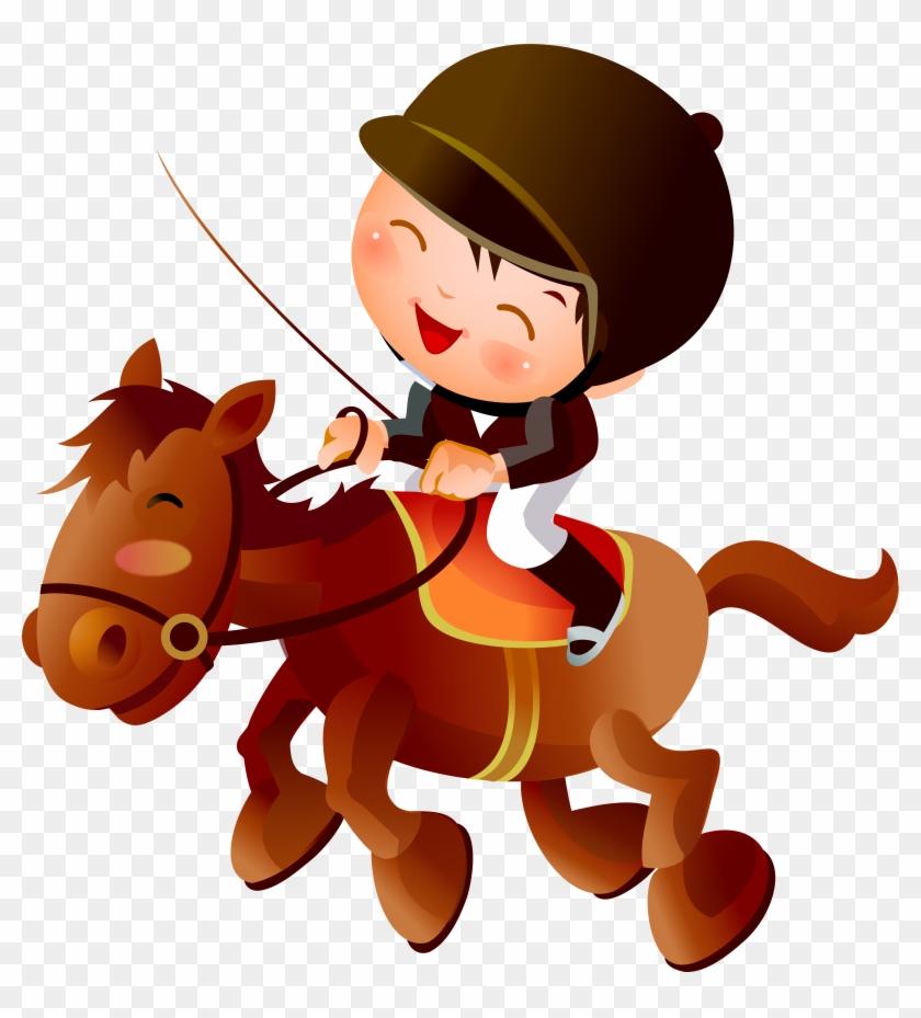 Caballo Ecuestre Dibujo De Dibujos Animados - Clipart Horse Riding Cartoon #1301201