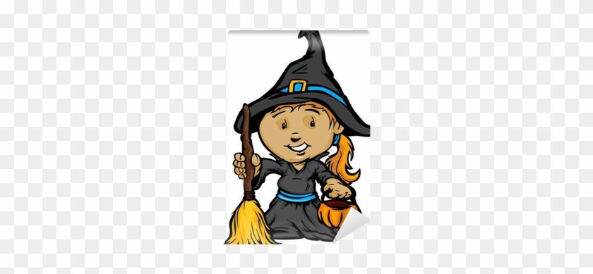 Cute Halloween Girl In Witch Costume Cartoon Vector - Cute Halloween Kids In Trick Or Trea Greeting Card #1301774