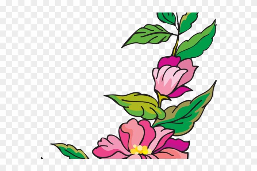 Hibiscus Clipart Colour Corner Border - Flower Page Border
