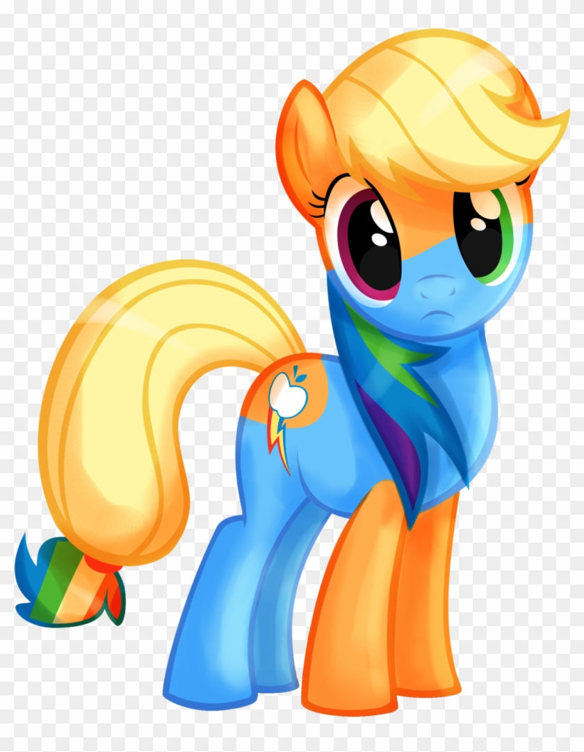 Goldennove, Cute, Fusion, Looking At You, Rainbow Dash, - Apple Dash My Little Pony #1303168