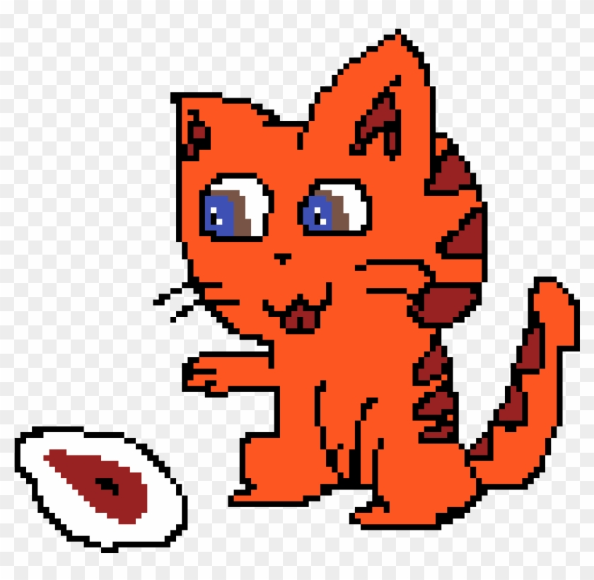 Tiger Striped Cat With Steak Habbo Hotel Free Transparent Png