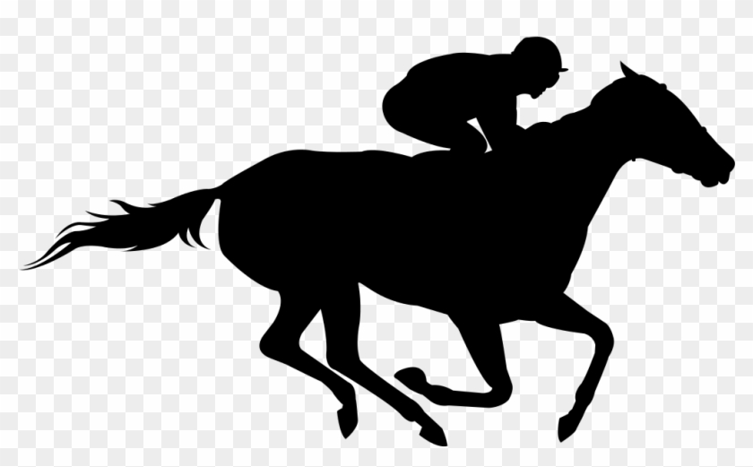 Horse Racing The Kentucky Derby Clip Art - Horse And Jockey Silhouette #1304505