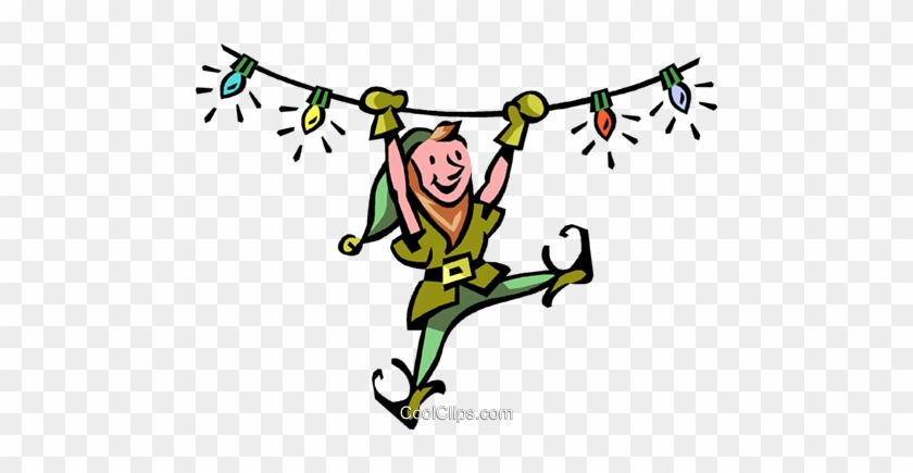 An Elf Swinging From Christmas Lights Royalty Free - Santa Claus And His Elves #1304793