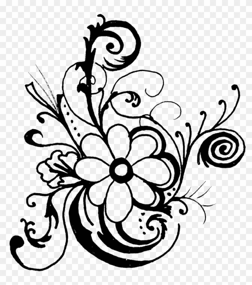 Flowers Clipart - Black And White Border Line Flowers Png #1306521