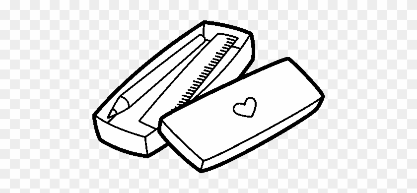 Little Box With Pencil And Ruler Coloring Page - Pencil Case Coloring -  Free Transparent PNG Clipart Images Download