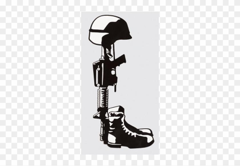 Fallen Soldier Memorial Clip Art - Boots Gun And Helmet #27268