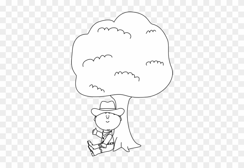 Black And White Cowboy Sitting Under A Tree Clip Art - Under The Tree Black And White #27276