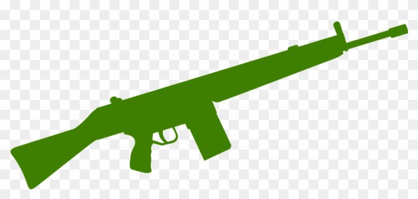 Rifle Gun Green Weapon Military War Army Armed - Machine Gun Silhouette #27279