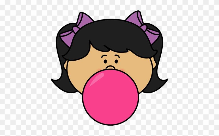 Girl Blowing Bubblegum Bubble - Blowing A Bubble Clip Art #27340