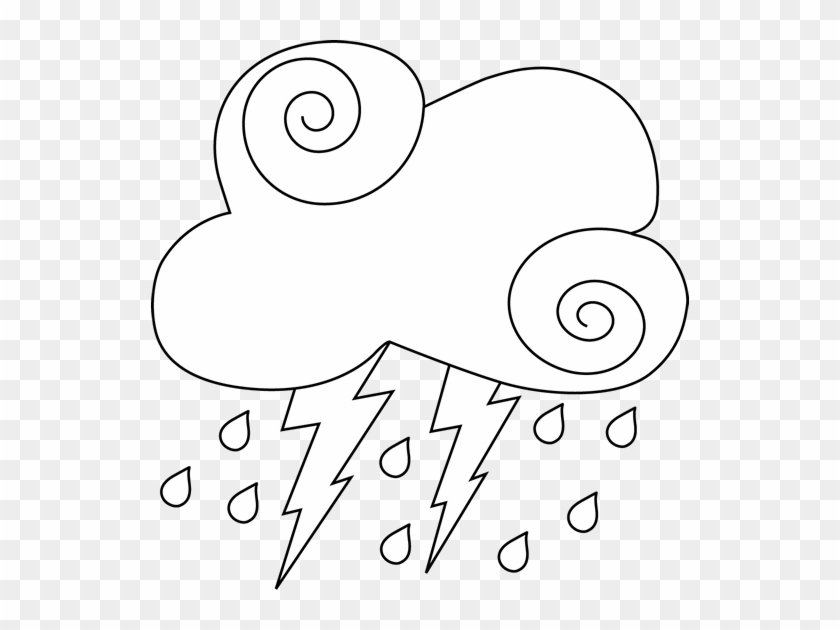 Cloud - Clipart - Black - And - White - Black And White Clipart Thunderstorm #27368