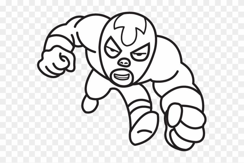 Luchador Line Art - Luchador Drawing #27377