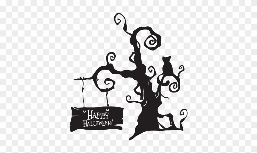 See It With Your Wall Color - Spooky Halloween Tree #27435