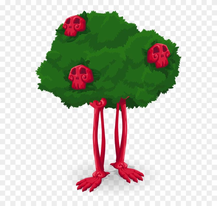 Skeleton Tree Cartoon Scary Halloween Creepy - Tree #27449