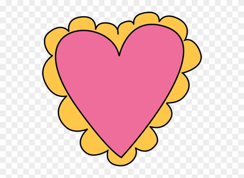 Pink And Yellow Valentine's Day Heart Clip Art - School #27557