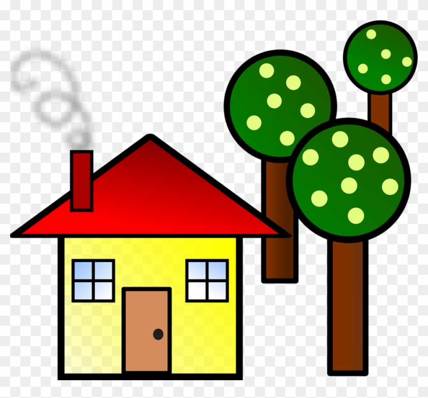 House With Trees Svg Vector File, Vector Clip Art Svg - Trees And A House #27560