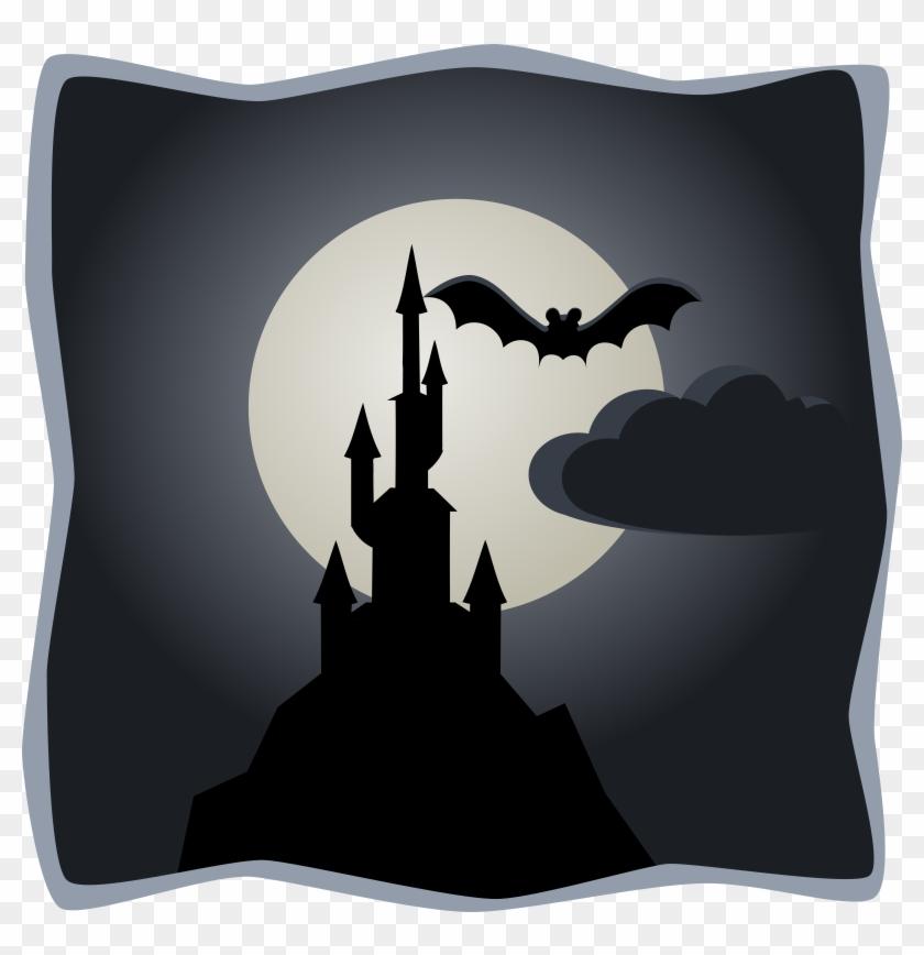 Spooky Castle In Full Moon - Spooky Castle Cartoon #27650