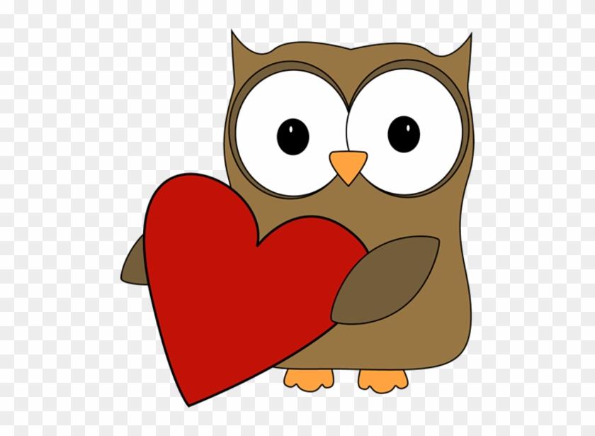 Owl With A Big Valentine Heart - Valentine Clip Art #27665