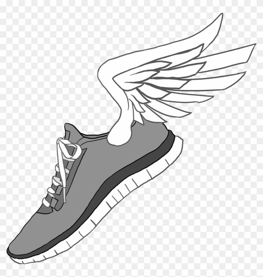 Track Shoe Running Shoe Telephone Clip Art Image Image - Running Shoes With Wings #27717