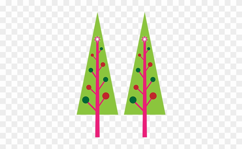 Christmas Tree With Baubles, Two Christmas Trees, Gingerbread - Clip Art #27842