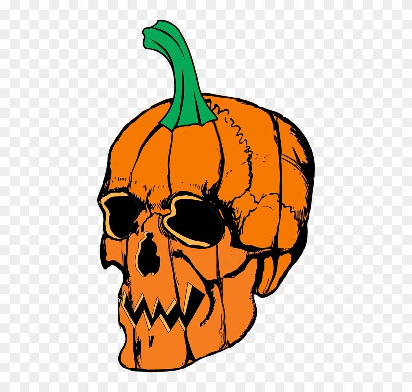 Halloween Skull Pumpkin Scary Spooky Horror - Skull Pumpkin Tshirts Halloween Tees Basic Tees #27854