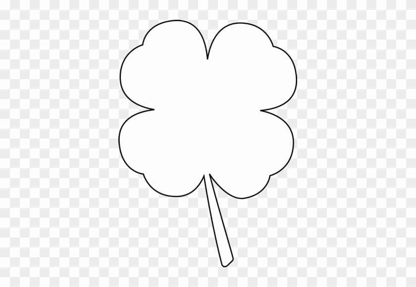 Black And White Four Leaf Clover Clip Art - White 4 Leaf Clover #28078