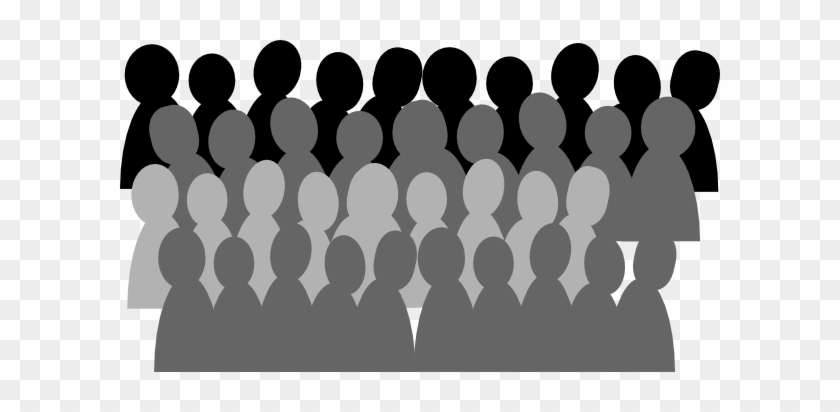 Larger Crowd Clip Art At Clker - Crowd Clipart Black And White #28168