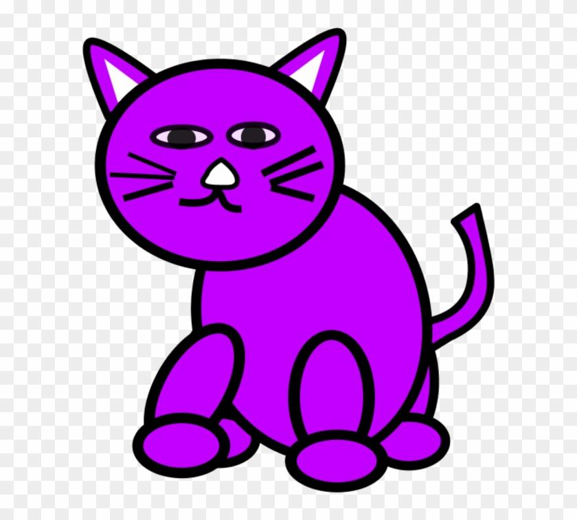 Cat Clipart Purple - Purple Cat Clipart #28293