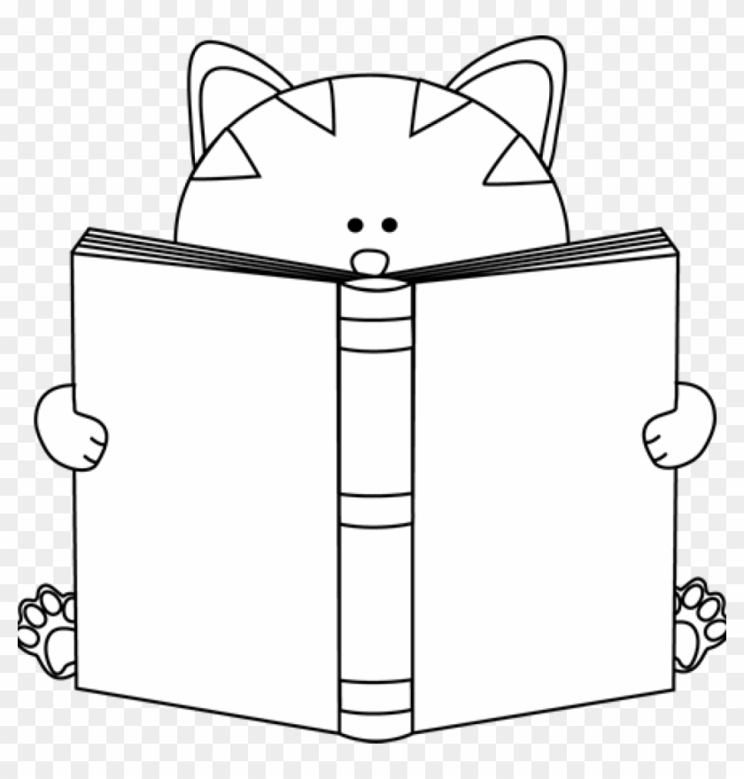Cat Clipart Black And White Black And White Cat Reading - Cute Book Clipart Black And White #28341