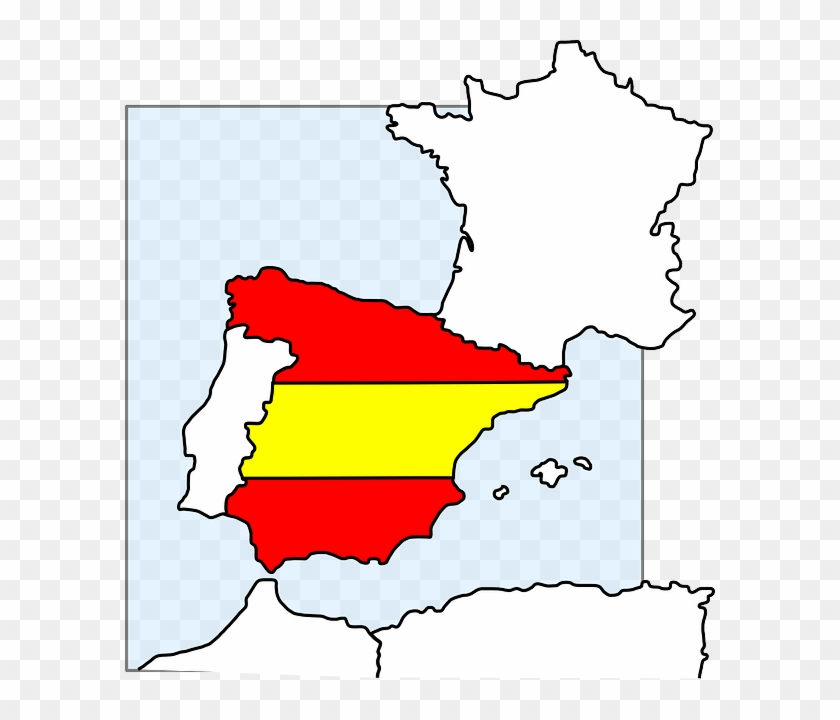 Spain Map And Flag Clip Art At Clker - Spain Clip Art #28355