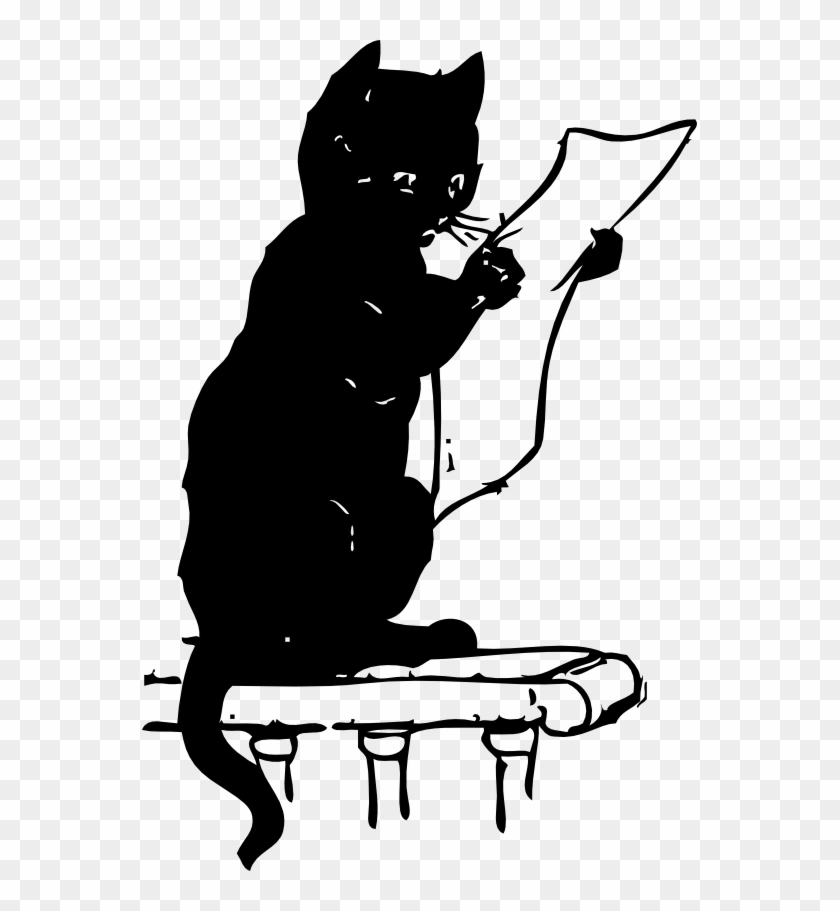 Cat Reading Black White Line Art 555px - Cat Reading A Map #28372