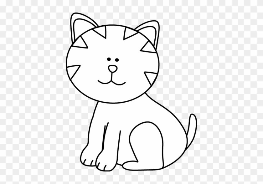 Cat Black And White Clipart - Cat Clip Art B&w #28437