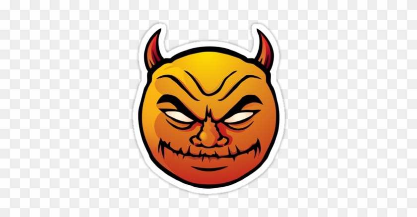 Red Evil Devil Smiley Stickers By Colin Cramm - Evil Smiley Face #28796