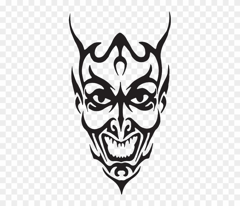 Face - Black And White Devil Face #28824