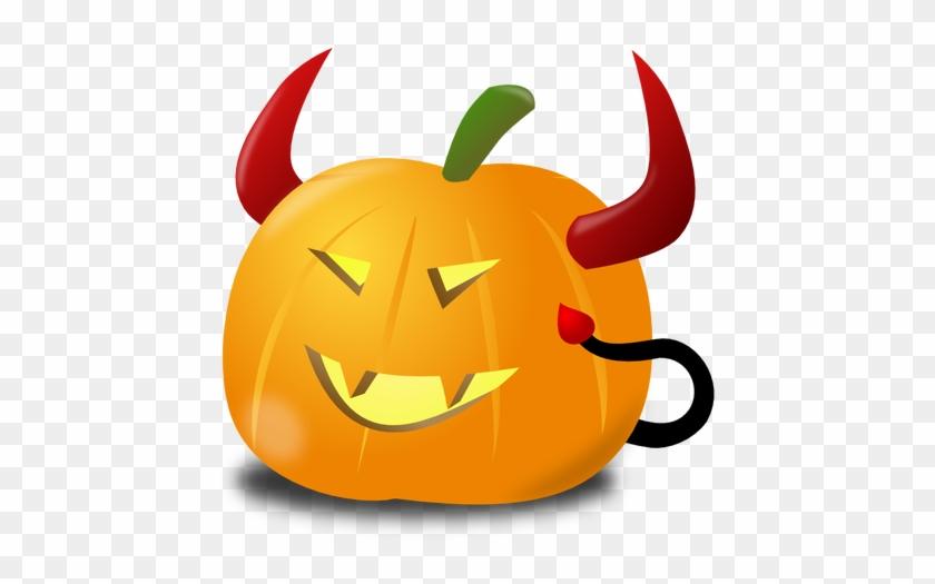 Devil Pumpkin Vector Clip Art Public Domain Vectors - Dynia Na Halloween Diabeł #28860