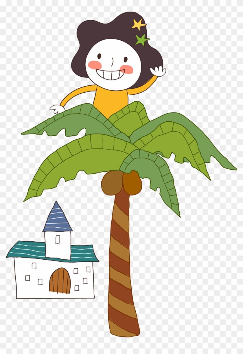 Vector Coconut Tree Girl - Vector Coconut Tree Girl #29066