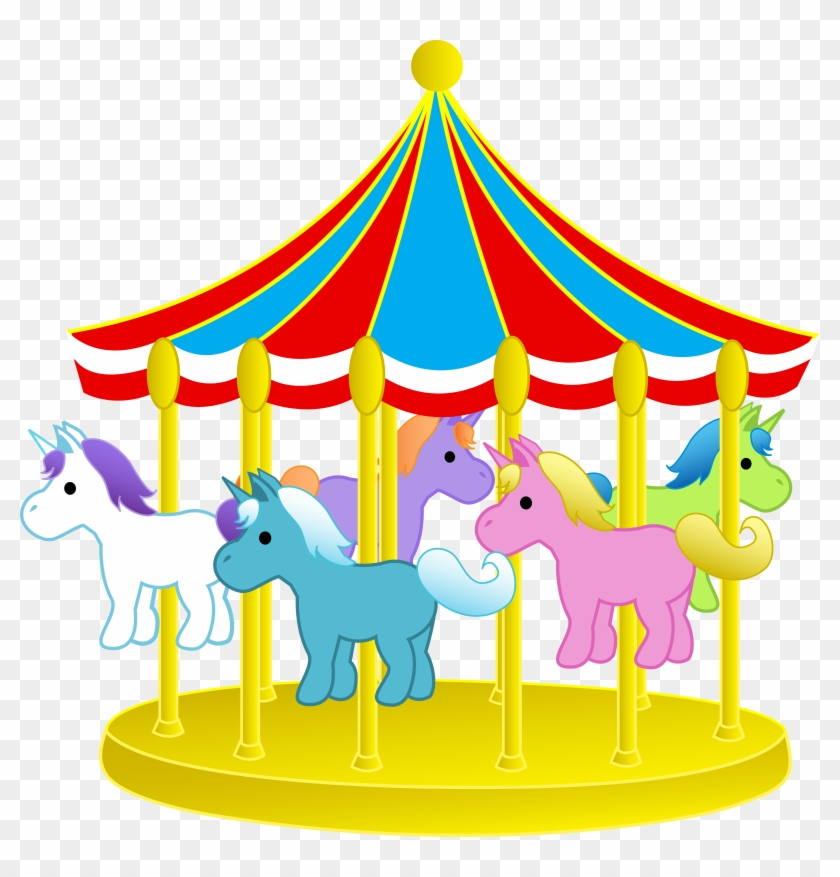 Cute Carnival Carousel With Ponies - Carousel Clipart #29141